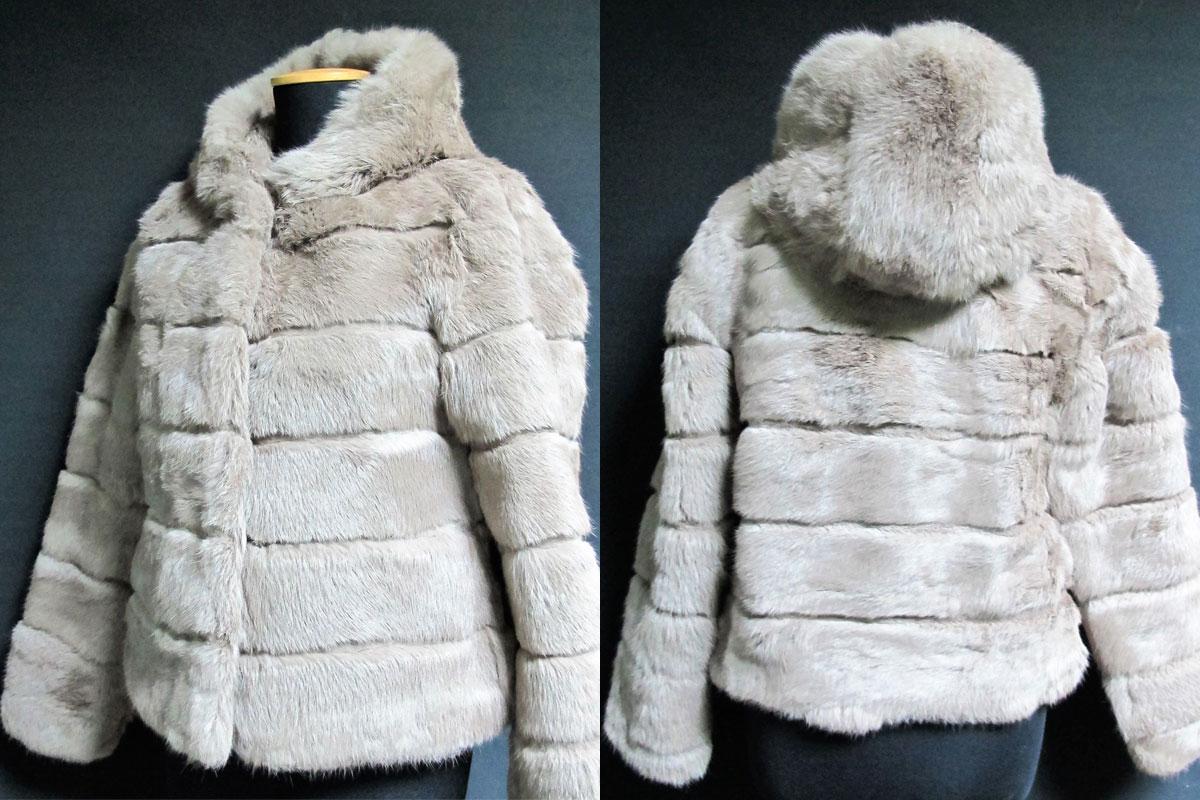 Woman fur jacket with hood - beige color