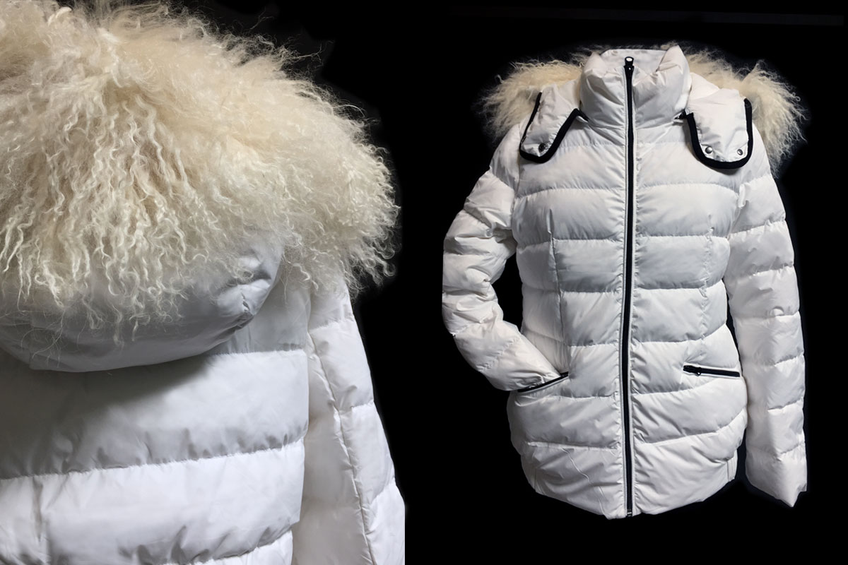 White woman jacket with Mongolia fur